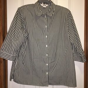 Alia Blk&Wht Checked Button Shirt 3/4 Sleeves 16